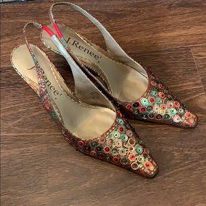J. Renee Doris Sling Back Gold Sequin Jewel Shoes